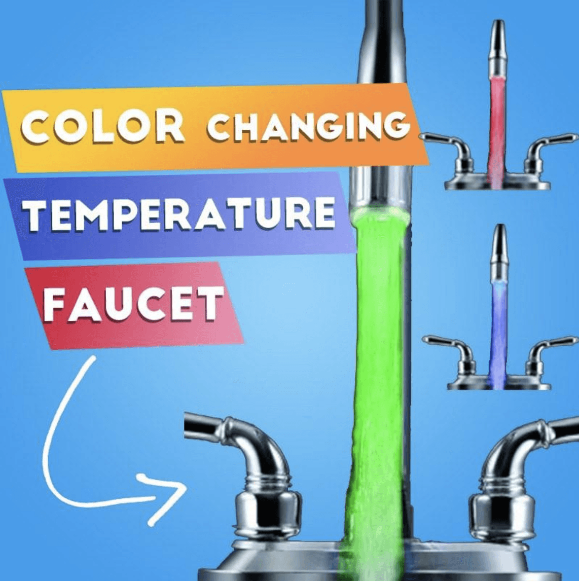 Temperature Sensor Faucet Light (3 Colors in 1)