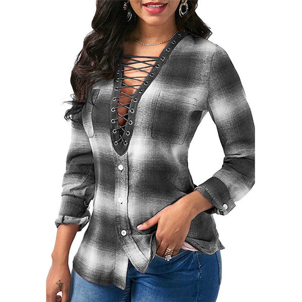 af5f2142619 Sexy Lace Up V Neck Casual Shirt – Carline's Boutique