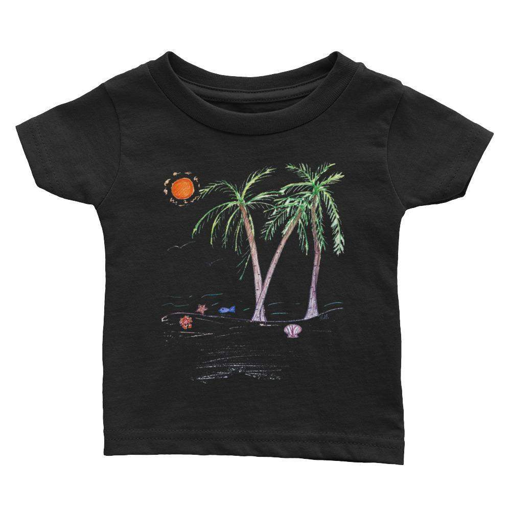 Baby Infant Tee - Beach Ocean Palm Tree Scene.-Baby - Infant-HRH Studio Boutique