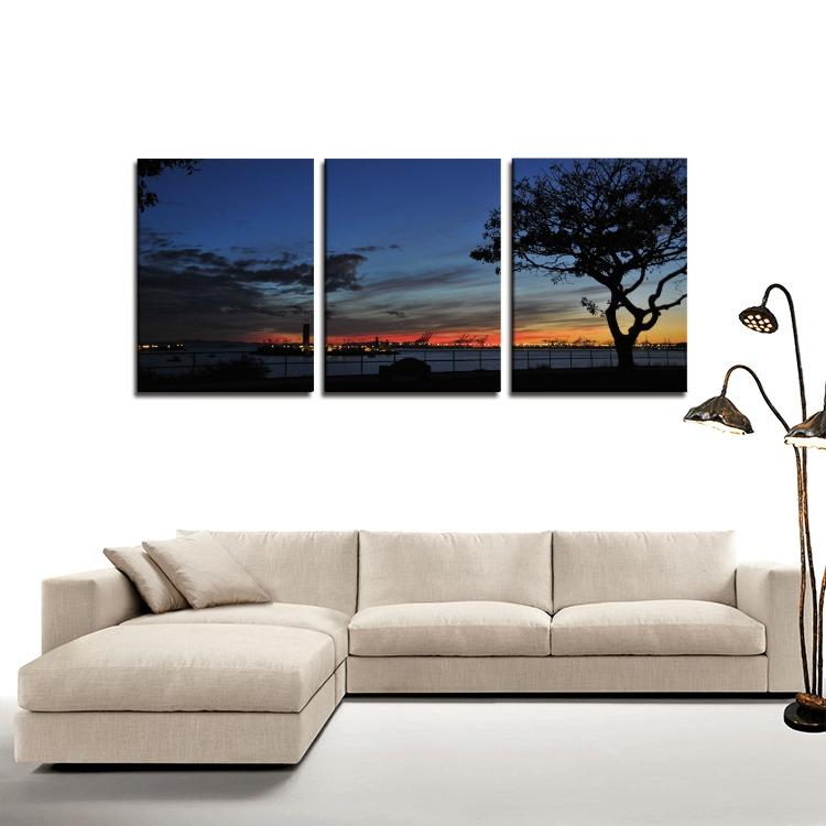 Bluff Park View Sunset California - 3 Panels Canvas Prints Wall Art for Wall Decorations-Wall art-HRH Studio Boutique