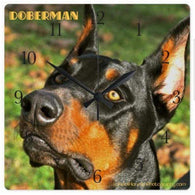 Doberman Clock - square ** FREE SHIPPING in the States!-Clock-HRH Studio Boutique