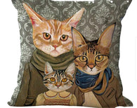 Kitty Family #1 (Neutrals) Pillow Cover-Pillows-HRH Studio Boutique