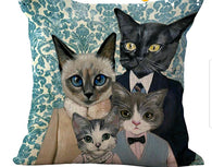 Kitty Family #2 - (Blues) Pillow Cover-Pillows-HRH Studio Boutique
