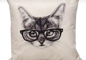 "Kitty ""Smart"" glasses - Pillow Cover.-Pillows-HRH Studio Boutique"