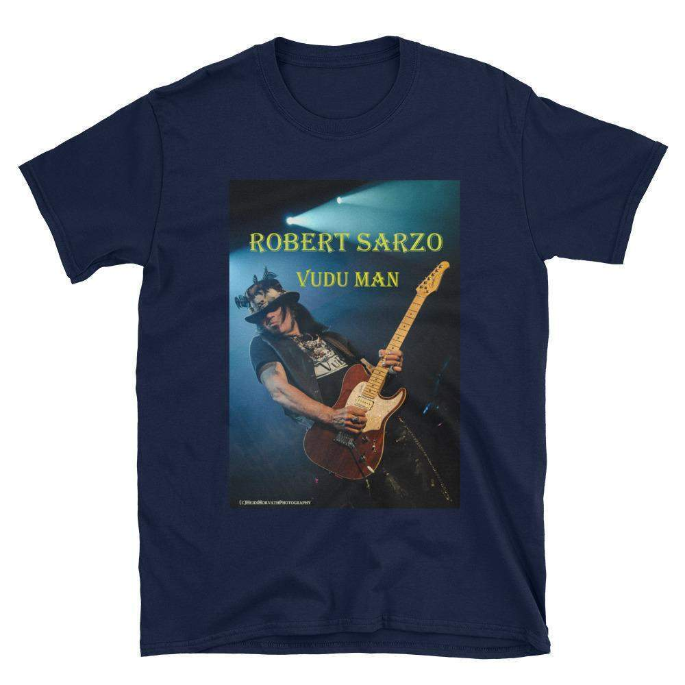 ROBERT SARZO VuDu Man - Guitarist - Short Sleeve Unisex T-Shirt - Blue Rawk photo-T Shirt-HRH Studio Boutique