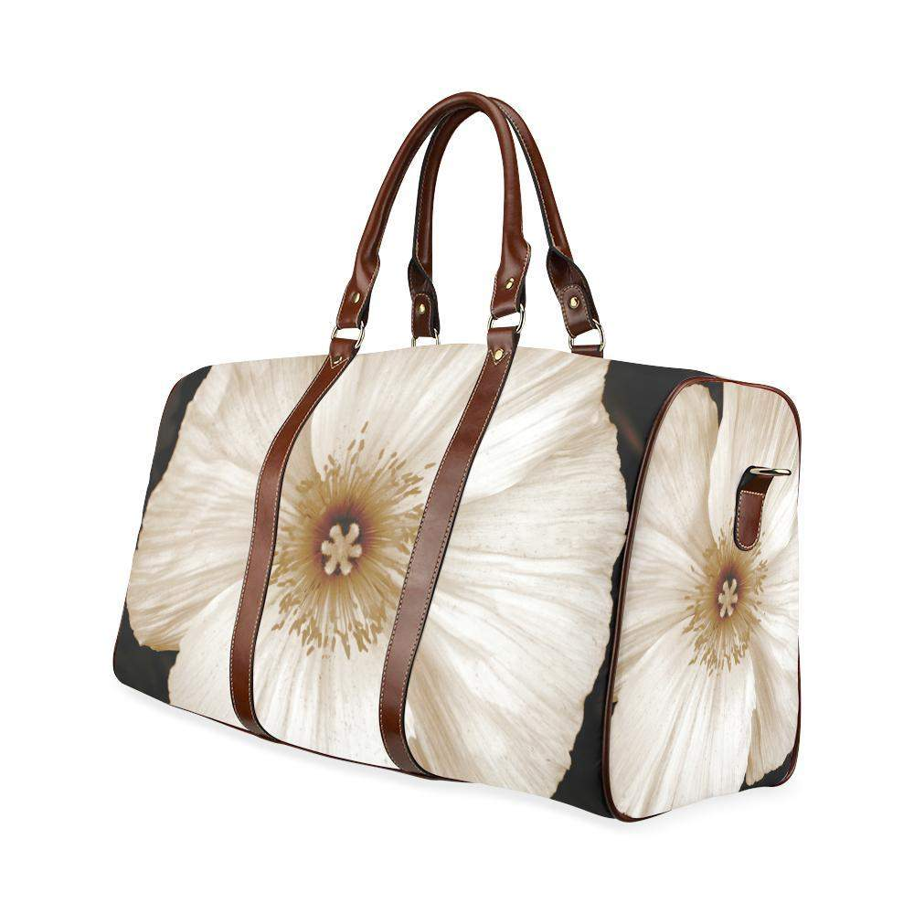 Sepia Poppy Travel bag Waterproof Travel Bag/Small (Model 1639)-Waterproof Travel Bags (1639)-HRH Studio Boutique