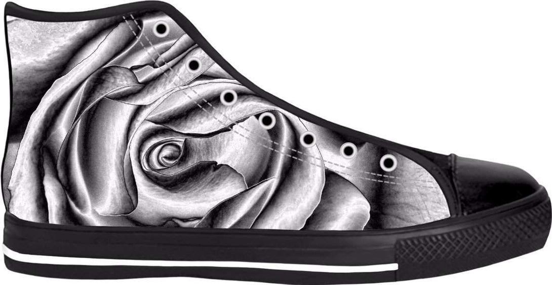 Sneaker, Unisex Shoes, Abstract Rose. High Tops, Custom Made!-Shoes HighTop BlackSole-HRH Studio Boutique