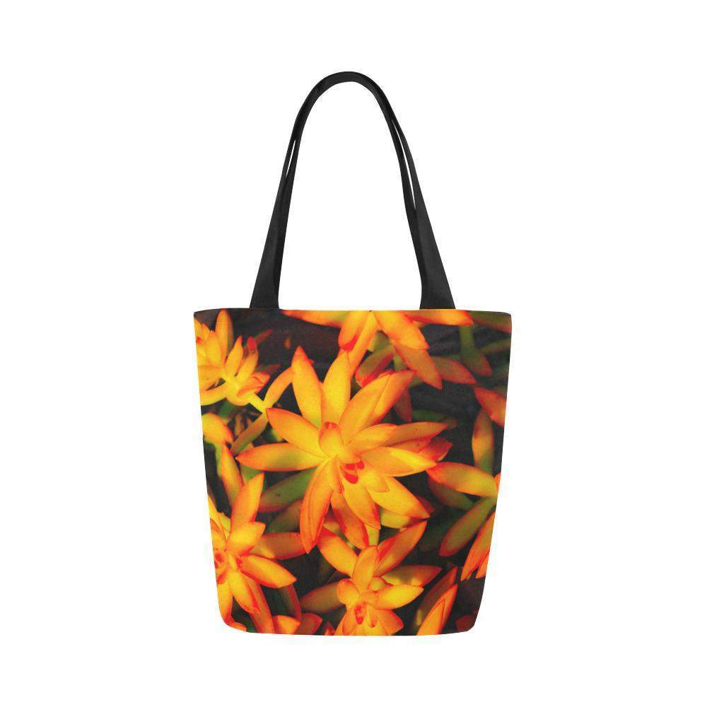 Sun Burst tote Canvas Bag (Model 1657)-Abstract Orange Canvas Tote Bag (1657)-HRH Studio Boutique