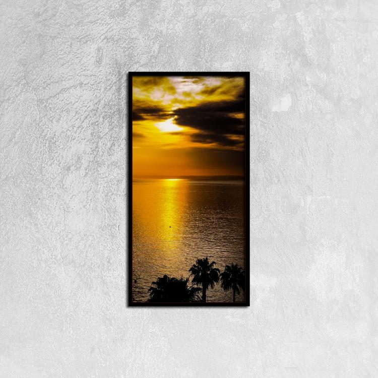 Sunrise Catalina - California Canvas Prints Wall Art for Home Decorations Stretched Black Vertical Frame Ready to Hang, 12ⅹ24 inch Wall art- HRH Studio Boutique