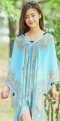 Turquoise Aqua Warp cover up-Tops, Wraps-HRH Studio Boutique