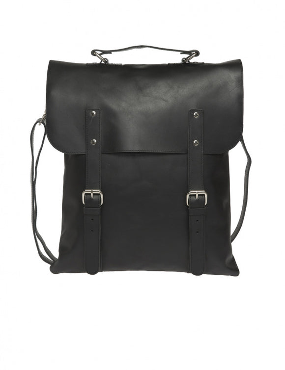Messenger Tote All Leather Black