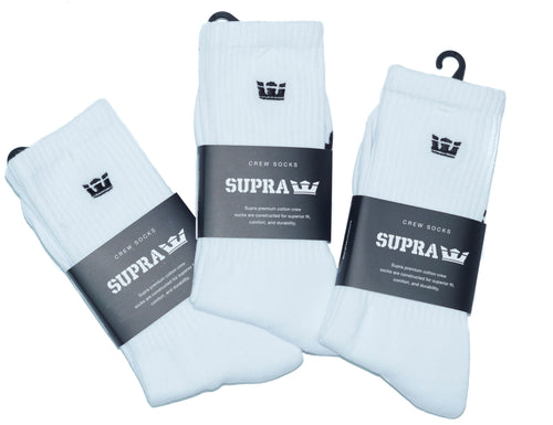 Supra White Crew Socks