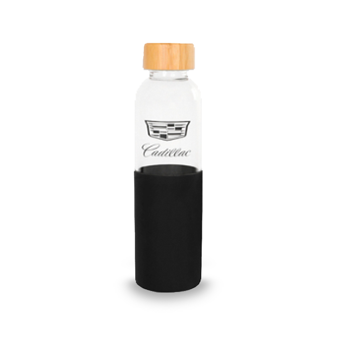Cadillac Glass 18oz Water Bottle-Silicone Sleeve