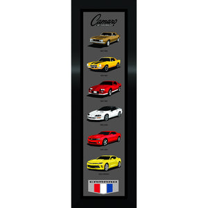 "Framed Camaro Generations Panel 11""x35"" - GM Company Store"