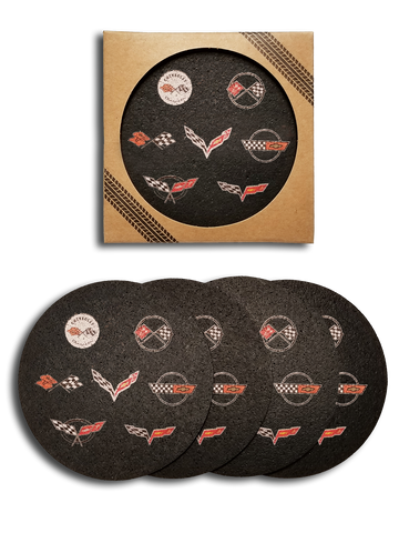 Corvette Generations Recycled Rubber Tire 4 Pack Coaster Set