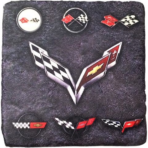 Corvette Generations Stone Tile Coaster Dark - GM Company Store