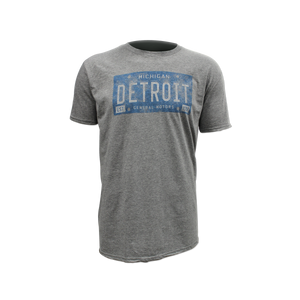 Detroit Michigan General Motors Vintage Blue License Plate T-shirt - GM Company Store