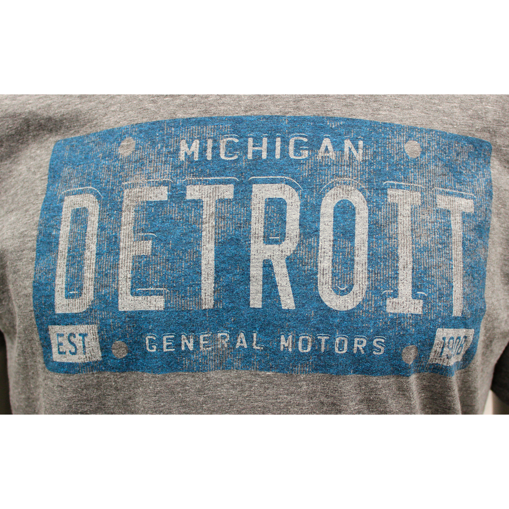 Detroit Michigan General Motors Vintage Blue License Plate T-shirt