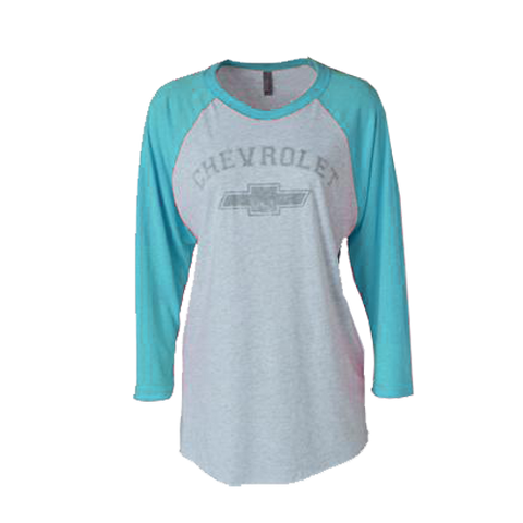 Ladies Chevrolet Baseball Tee-Teal