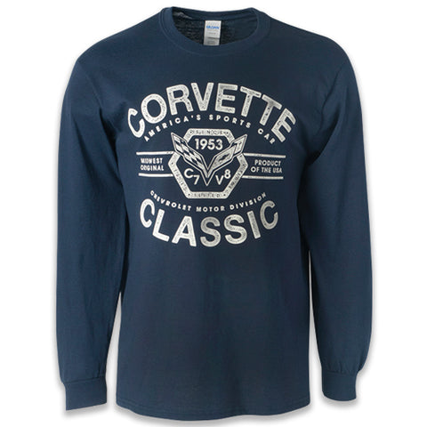 C7 Corvettte Classic '55 Long Sleeve Tee Blue - GM Company Store