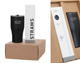 Chevrolet Travel Tumbler Gift Set with Reusable Stainless Steel Straws - GM Company Store