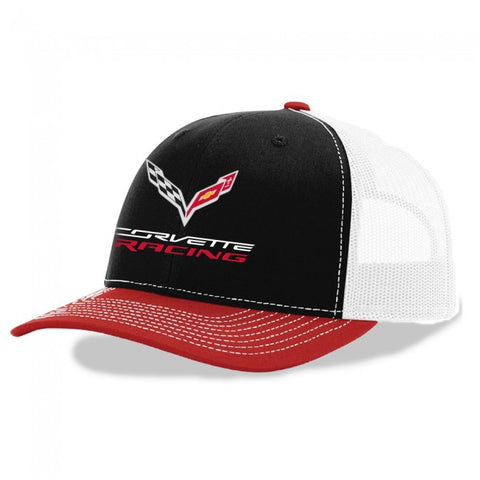 Corvette Racing Trucker Cap-Blk/Red/White