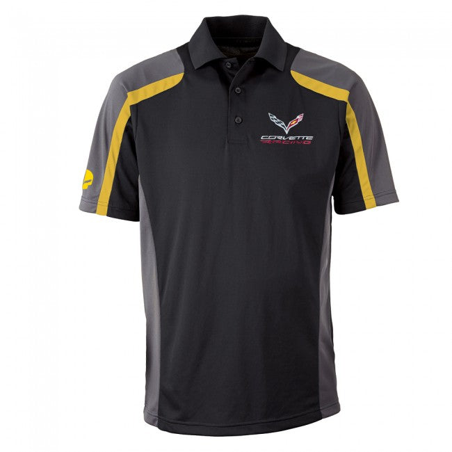 Corvette Racing Men's Polo-Blk/Ylw/Gry - GM Company Store