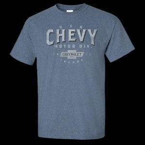 Chevy Motor City Heritage Heather Indigo Blue T-Shirt