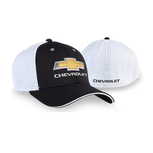 Chevrolet Bowtie With Chevrolet On Back-Black/White Cap - GM Company Store