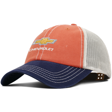 Relaxed Trucker Chevrolet Cap-Orange/Navy/Tan