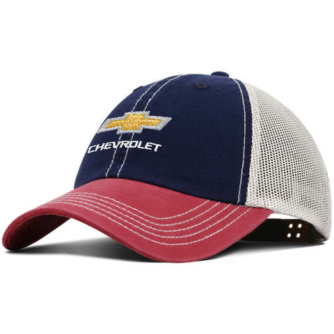 Chevy Contrast Canvas Trucker Hat-Red/Navy/Tan - GM Company Store