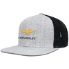 Chevy Flat Bill Trucker Bowtie Cap-Heather Grey/Black - GM Company Store