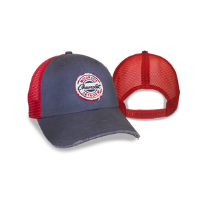Chevrolet Motor City Scuffed Bill Cotton Twill Cap -Navy/Red - GM Company Store