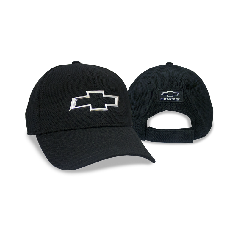 Chevrolet Open Bowtie Chrome on Black Cap
