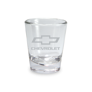 Etched Chevy Bowtie Clear Shot Glass - GM Company Store