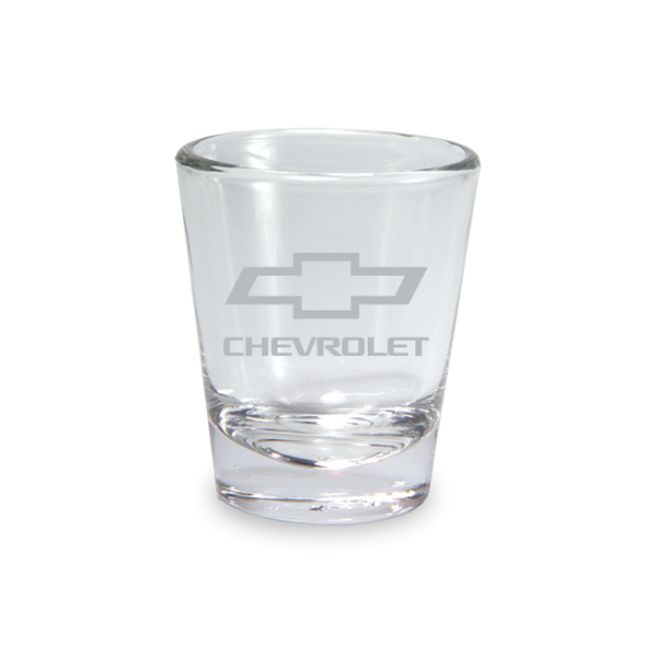 Etched Chevy Bowtie Clear Shot Glass