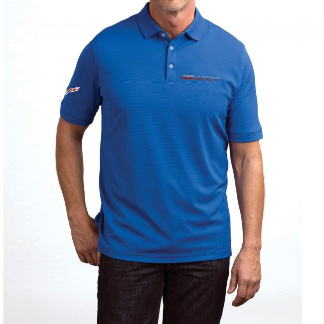 Grand Sport Textured Polo-Blue - GM Company Store