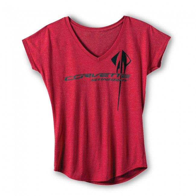 Ladies Corvette Stingray Tee- Heather Red - GM Company Store