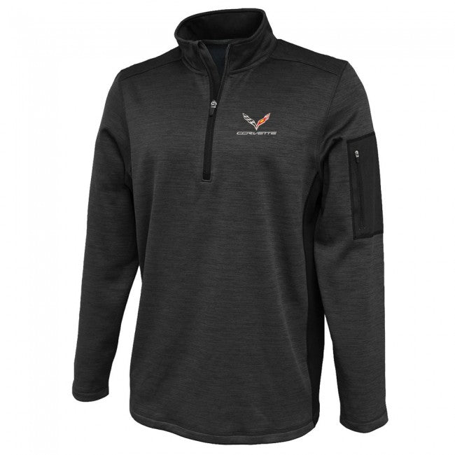 Corvette C-7 Black 1/4 Zip Fleece - GM Company Store