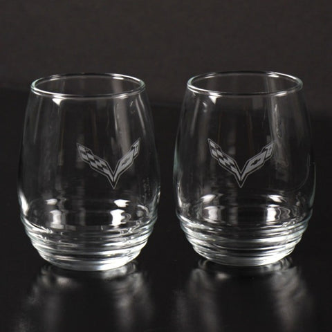 Corvette 11 0z Stemless Glasses Set of 2