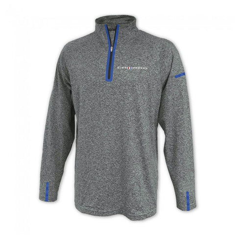 Camaro 6th Gen 1/4 Zip Fleece- Gray w. Blue - GM Company Store