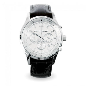 Camaro Timeline Chronograph Watch Polished Silver Crocodile-Pattern Leather - GM Company Store