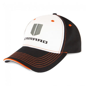 Camaro Hood Stripe Cap Black/White/Orange - GM Company Store
