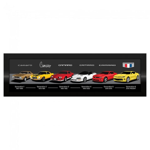 "Framed Camaro Generations 13"" x 43"""