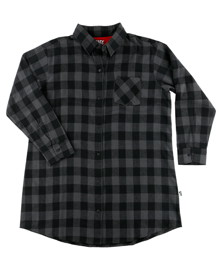 Grey Plaid Flannel Nightshirt