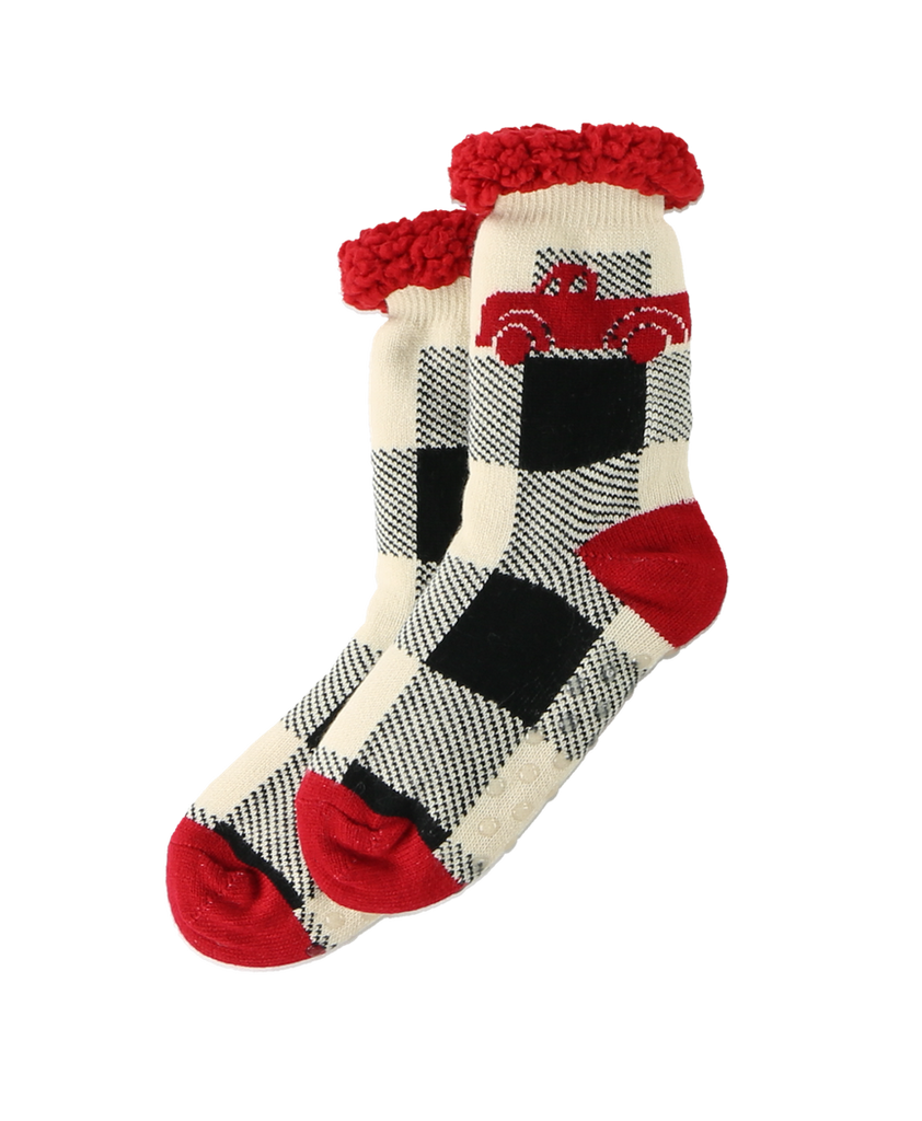 Truck Plaid Plush Sock