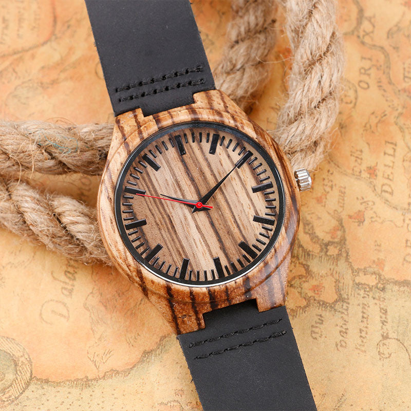 watches wooden handmade casual genuine band nature creative watch star leather men bamboo dial new quartz trek