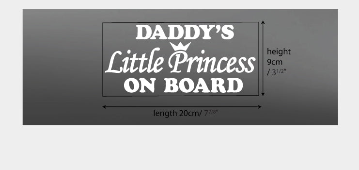 StickTak Stickers daddy's princes on board vinyl decal sticker