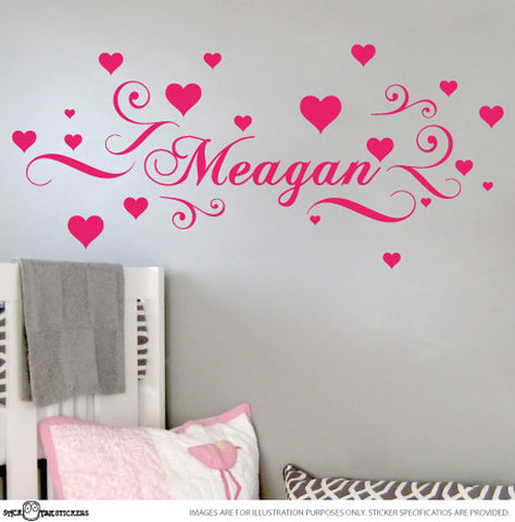Girls Custom Name with Hearts