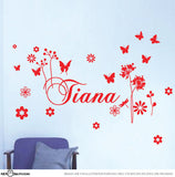 Girls Custom Name with Butterflies and Flowers